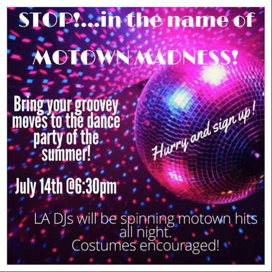 MOTOWN MADNESS – DETROIT STYLE BBQ & Dancing all night long. Bring your dancing shoes.